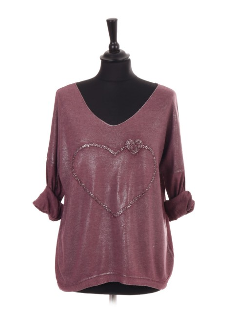 Italian Turn-up Sleeves Heart Embroidered Shimmery Top