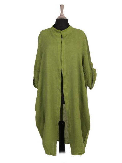 Italian Turn-up Sleeves Open Front Linen Cardigan