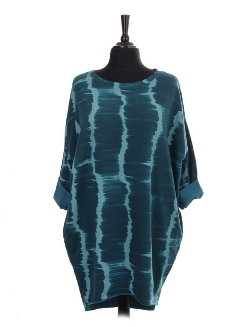Italian Turn-up Sleeves Tie Dye Print Dip Hem Top