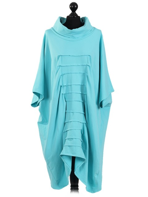 Italian Turtle Neck Batwing Pleated Front Lagenlook Top-Mint