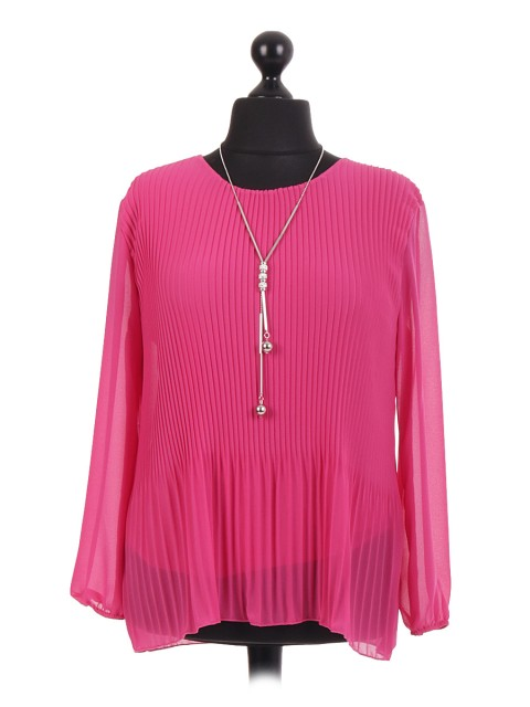 Italian Pleated layered Chiffon Blouse With Necklace