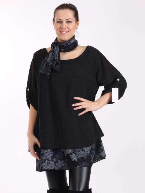 Italian Two Layered Cotton Floral Print Hem Detail Top With Scarf -Black