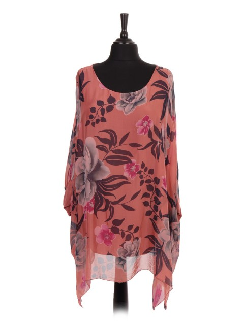 Italian Two Layered Floral Print Plus Size Silk Batwing Top