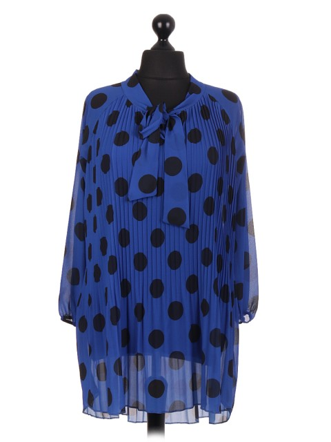 Italian two Layered Polka Dot Pleated Dip Hem Tunic Top