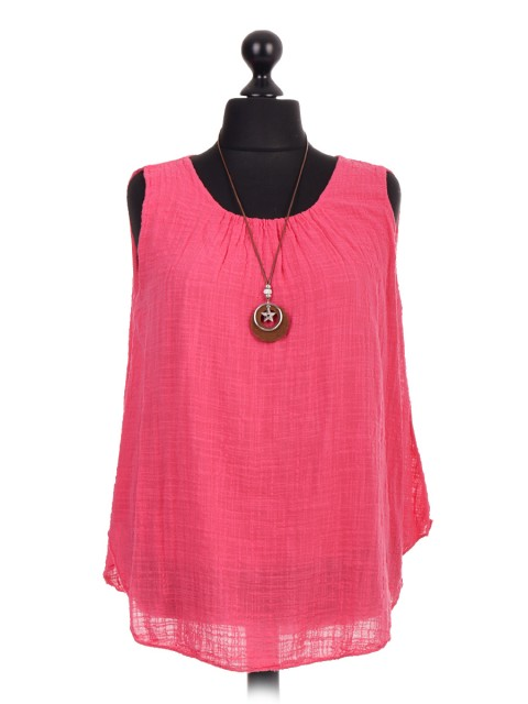 Italian Two Layered Sleeveless Top With Necklace