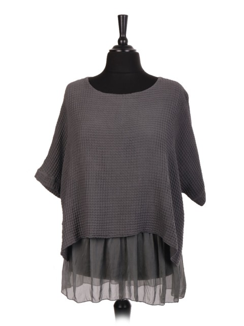 Italian Two Layered Waffle Weave Top With Silk Hem