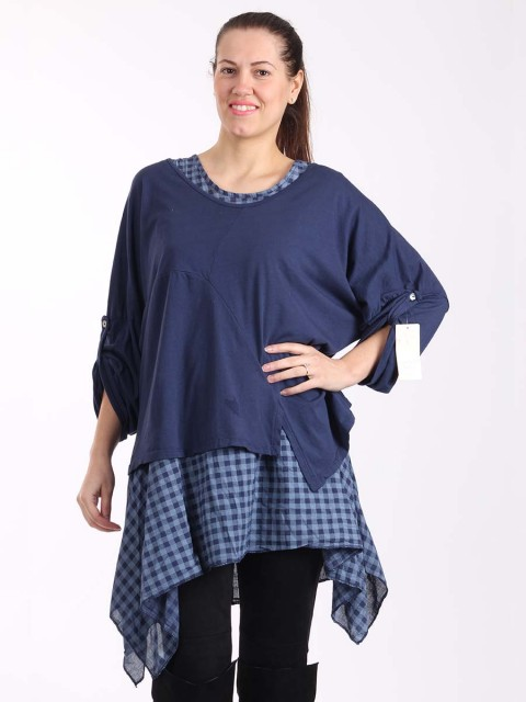 Italian Two Piece Plain And Check Pattern Cotton Top-Navy