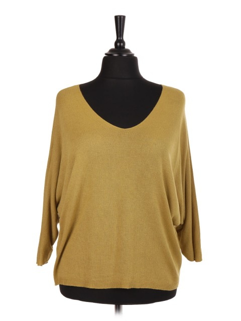 Italian V-Neck Knitted Batwing Top