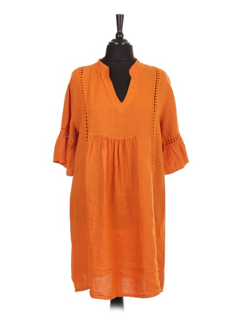 Italian V-neck Linen Dress With Crochet Detail And Flared Sleeves