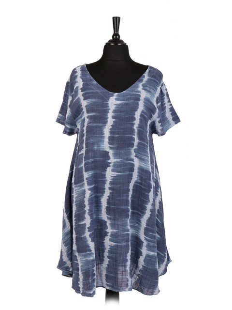 Italian v-Neck Tie & Dye Skater Dress With Side Pockets