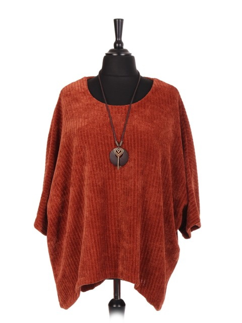 Italian Velour Dip Hem Batwing Top With Necklace