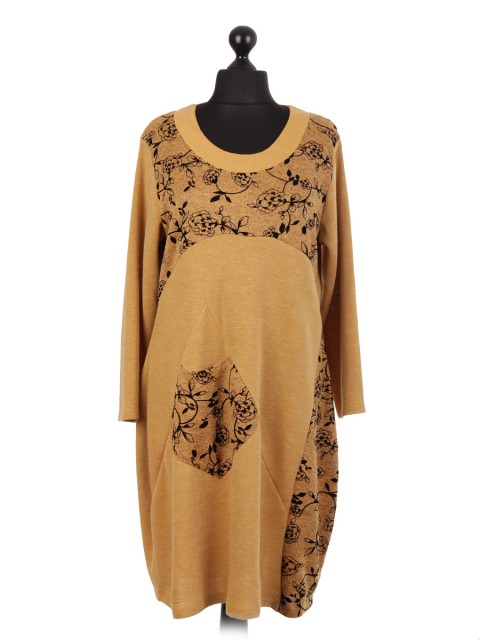 Italian Velour Flower Embossed Lagenlook Dress