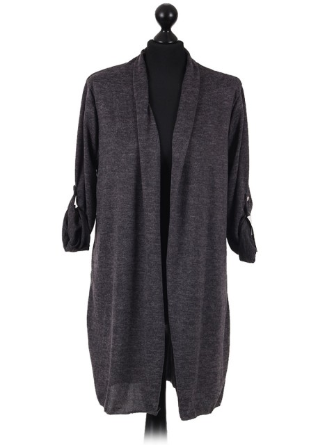 Italian Ladies Waterfall Cardigan charcoal