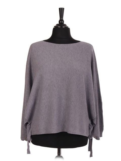 Italian Batwing Jumper With Side Tie Knot And Button