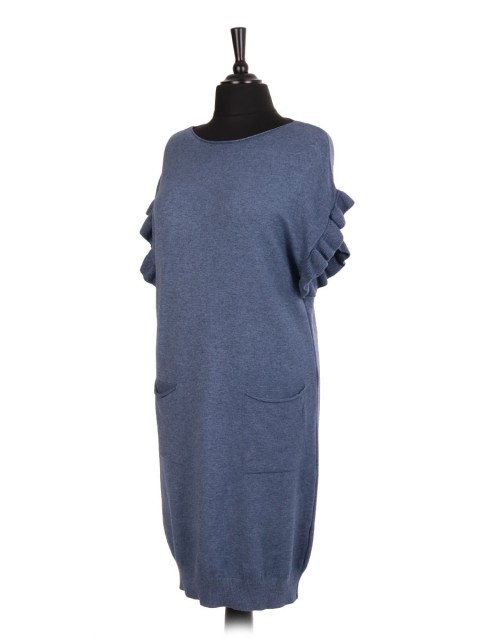 Italian Knitted Longline Jumper With Ruffled Sleeves And Front Pockets