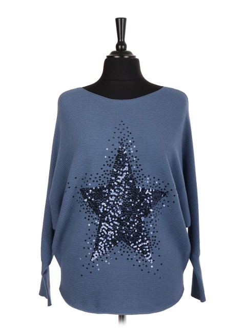 Italian Sequin Star Batwing Jumper