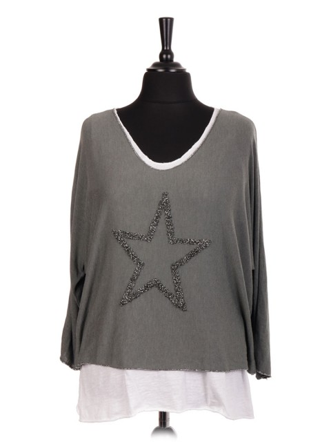 Italian Two Piece Glittery Star Knitted Top