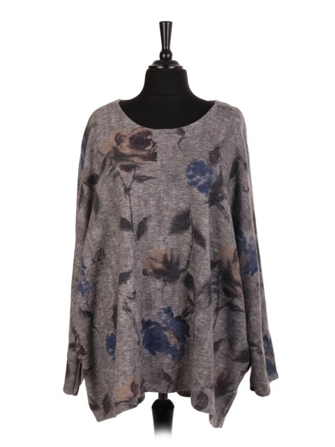Italian Wool Mix Printed Oversized Batwing Top