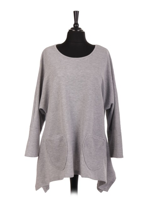 Italian Wool Mix Scoop Neck Tunic Top With Front Pockets