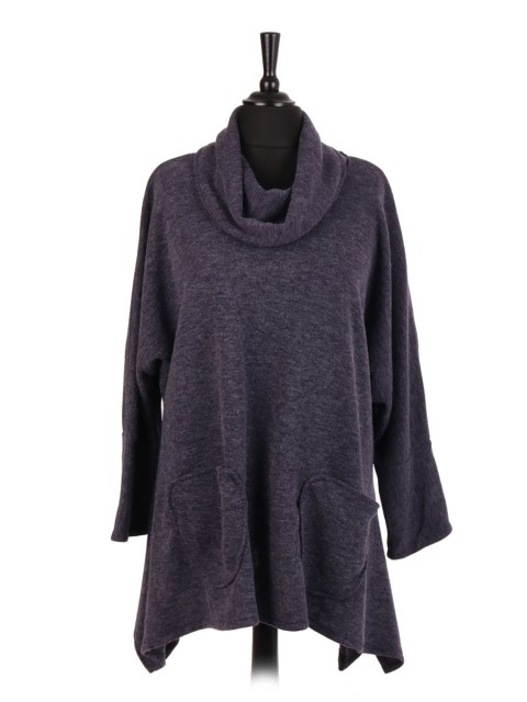 Italian Wool Mix Cowl Neck Tunic Top With Front Pockets