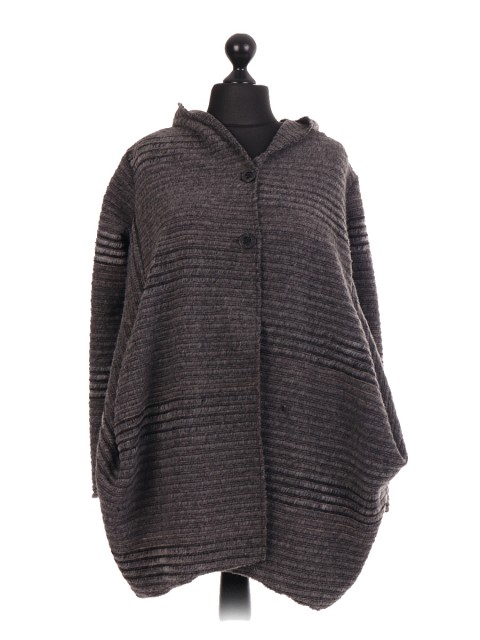 Italian Wool Mix Hooded Coat