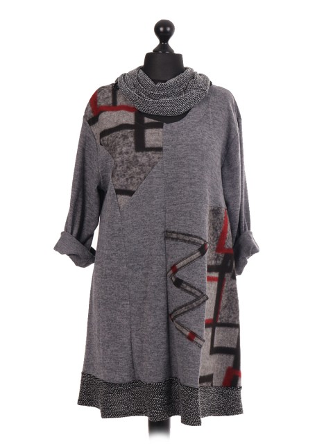 Italian Wool Contrast Panel Hem Dress With Scarf