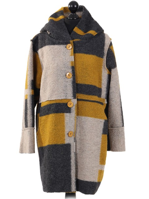 Italian Woolen Block Pattern Hooded Coat Mustard