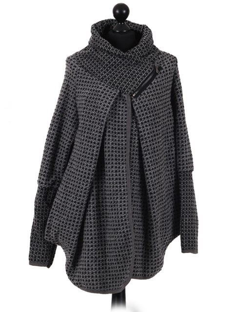 Italian Woollen Coat with Zip Detail Collar grey