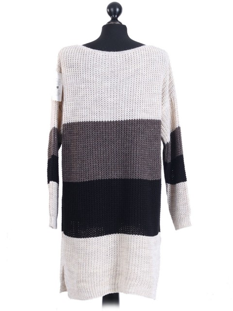 Italian Knitted Stripy Woollen Top Creme