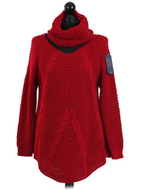 Italian Woollen Round Hem Knitted Jumper Red