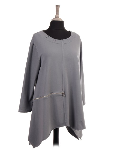 Italian Zip Detail Tunic Top With Side Split