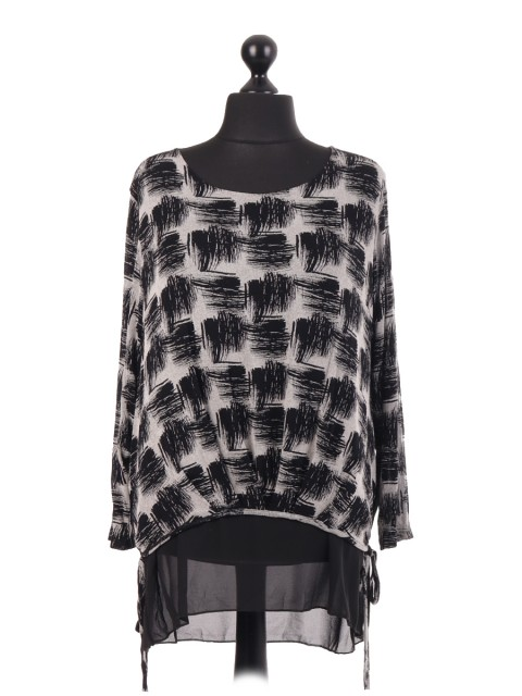 Italian Jersey Black Square Printed Chiffon Lined Top