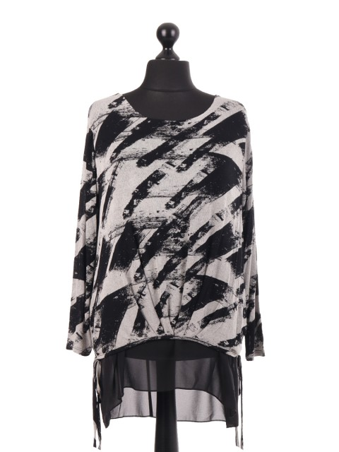 Italian Jersey Splash Printed Chiffon Lined Top