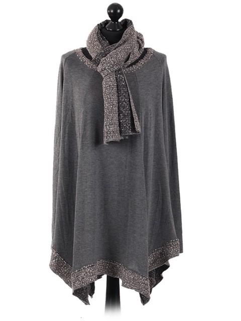 Italian Knitted Long Sleeves Tunic Top grey