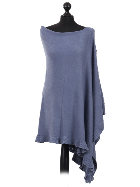 Italian Cashmere Mix angled quirky Poncho Denim