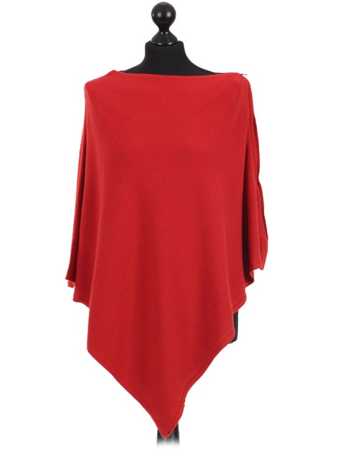Ladies Cashmere Mix Side Zip Detail Knitted Poncho Shrug light_rust