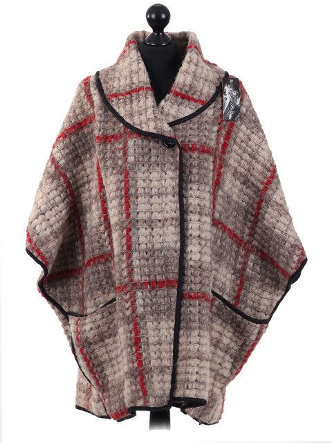 Ladies Check Pattern Wool Mix Knitted Poncho Beige