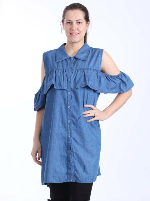 Ladies Cold Shoulder Front Button Detail Denim Top with Frill Detail-Denim 1