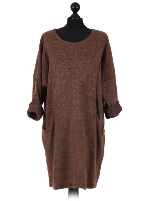 Italian Ladies Pocket Lagenlook Dress brown
