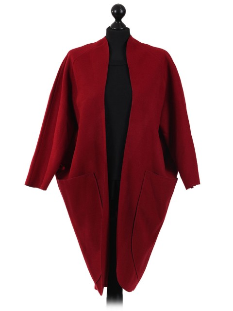 Ladies Wool Mix Front Pocket Blazer maroon