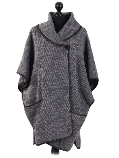 Ladies Wool mix Knitted Poncho grey