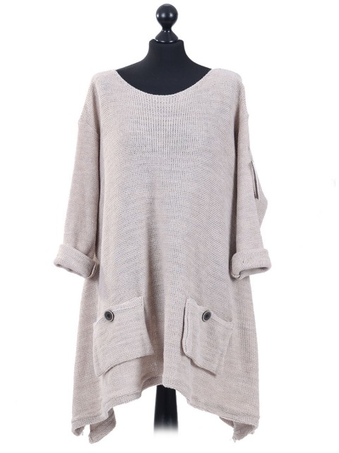 Italian Woollen Knitted Tunic Top Beige
