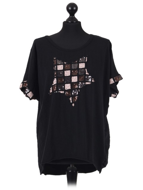 Italian Cotton Sequin Star and Sequin Sleeves Hem Lagenlook Top black