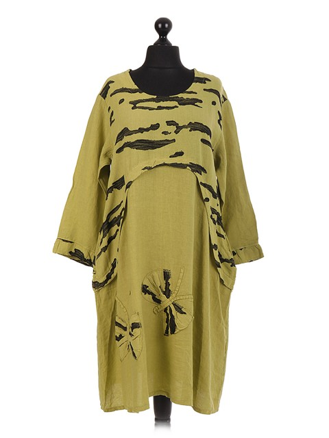 Italian Linen Butterfly Applique Dress