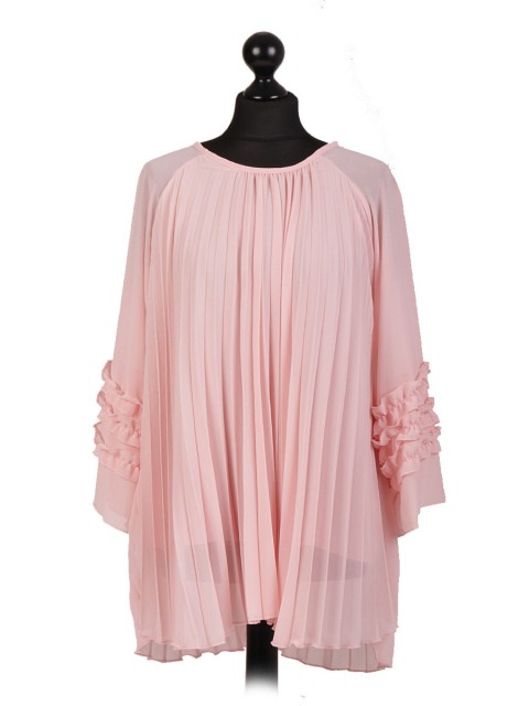 Italian Two Layered Pleated Ruffled Sleeve Blouse