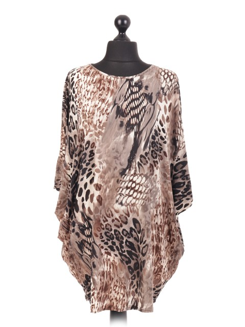 Animal Print Italian Batwing Top