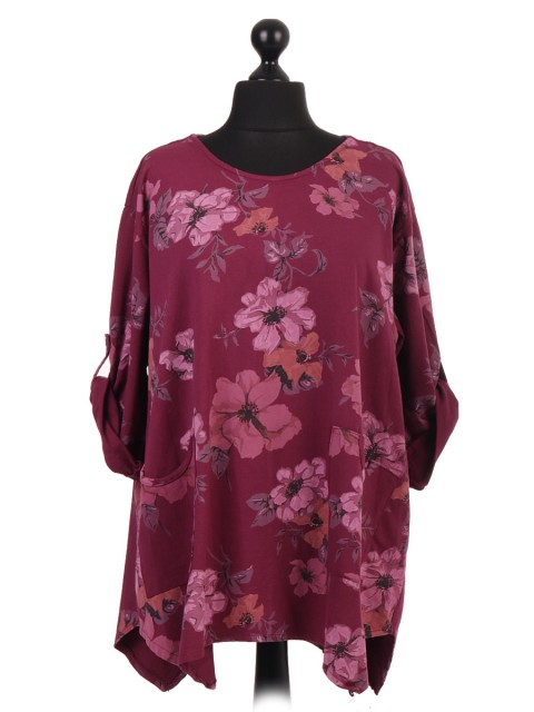 Italian Floral Cotton Tunic Top