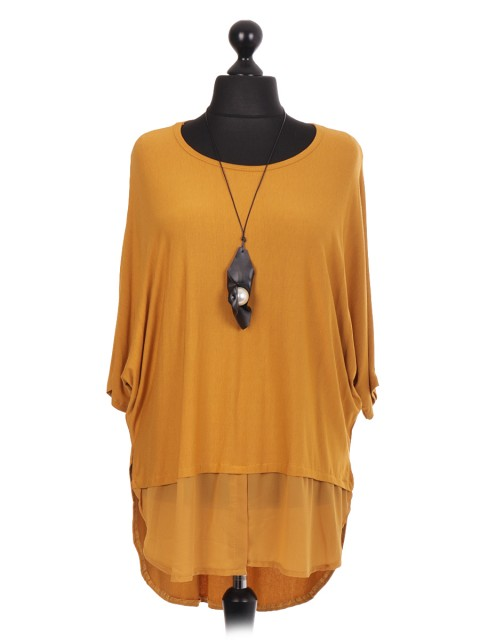 Italian Batwing Top With Chiffon Hem And Necklace