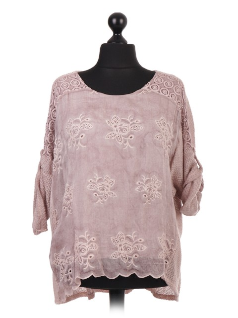 Italian Embroidered Two Layered Tunic Top