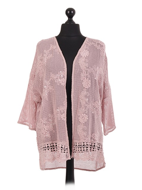 Italian Crotchet Sequin Embelished Open Cardigan